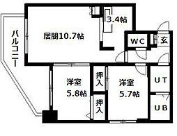 北海道札幌市清田区真栄一条1丁目の賃貸マンションの間取り