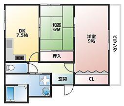 ヤマモトマンション[3階]の間取り
