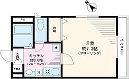 メゾン西片壱番館 2階1Kの間取り