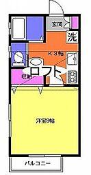 小田急小田原線 本厚木駅 バス17分 山王坂上下車 徒歩5分の賃貸アパート 2階1Kの間取り