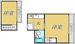 東京都目黒区下目黒6丁目の賃貸マンションの間取り