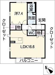 メゾンデラムールB棟[1階]の間取り