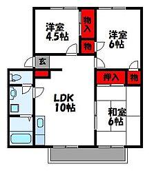 JR香椎線 和白駅 徒歩13分の賃貸アパート 1階3LDKの間取り