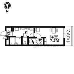 京阪本線 龍谷大前深草駅 徒歩8分の賃貸アパート 1階1Kの間取り