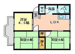 福岡県北九州市門司区上馬寄3丁目の賃貸アパートの間取り
