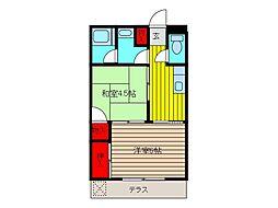 埼玉県蕨市塚越2丁目の賃貸マンションの間取り