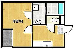 クレフラスト新浜松駅西 2階1Kの間取り