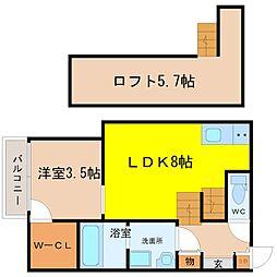 愛知県名古屋市港区七番町2丁目の賃貸アパートの間取り