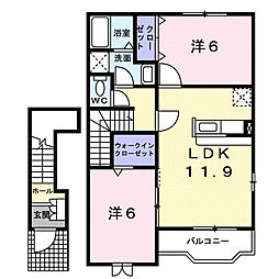 静岡県浜松市東区白鳥町の賃貸アパートの間取り