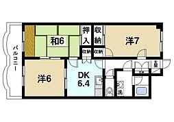 グラン・シャリオ二階堂 7階3DKの間取り