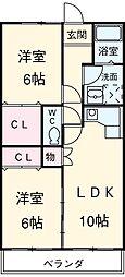 愛知県安城市二本木町長根の賃貸アパートの間取り