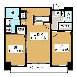 ミカーレ・トーゲン[6階]の間取り