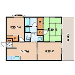静岡県静岡市駿河区八幡2丁目の賃貸アパートの間取り