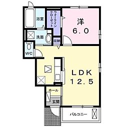 JR東海道本線 大磯駅 バス12分 中丸下車 徒歩5分の賃貸アパート 1階1LDKの間取り