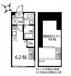 京急本線 追浜駅 徒歩11分の賃貸アパート 1階ワンルームの間取り