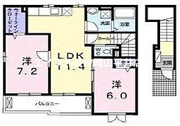 JR山陽本線 岡山駅 バス45分 郡下車 徒歩2分の賃貸アパート 2階2LDKの間取り