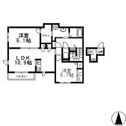 (仮称)東大阪市シャーメゾン岩田町4丁目[201号室号室]の間取り