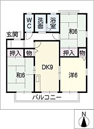 K'SアヴェニューA棟[2階]の間取り