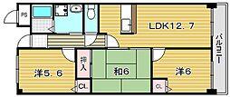大阪府茨木市五日市緑町の賃貸マンションの間取り