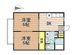 JR埼京線 与野本町駅 徒歩24分の賃貸アパート 1階2DKの間取り