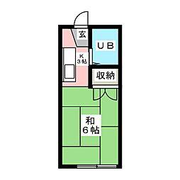 イースタンハイツ連坊B[1階]の間取り