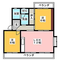 カターラ三清[2階]の間取り