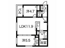 CITY RESIDENCE幌平橋 4階2LDKの間取り