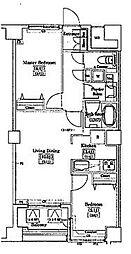 レジディアタワー上池袋(タワー棟) 9階2LDKの間取り