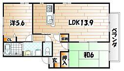 福岡県遠賀郡水巻町二東1丁目の賃貸アパートの間取り