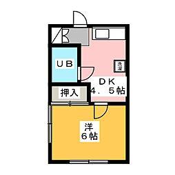 石関ハイツB[2階]の間取り