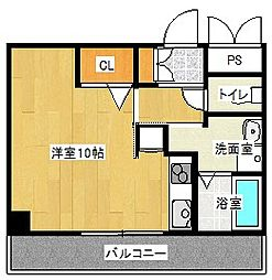 京阪本線 守口市駅 徒歩5分の賃貸マンション 2階ワンルームの間取り