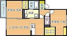 福岡県北九州市若松区赤島町の賃貸アパートの間取り