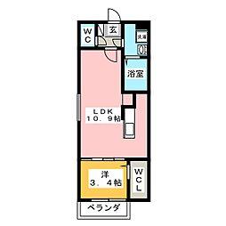 L・コスモ井尻[2階]の間取り