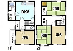 [一戸建] 奈良県大和郡山市九条町 の賃貸【/】の間取り