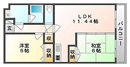 岡山県岡山市中区倉田の賃貸マンションの間取り