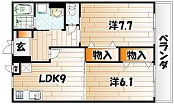 福岡県北九州市八幡西区力丸町の賃貸マンションの間取り