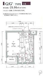 スカイコートグランメゾン御殿山 1階ワンルームの間取り