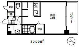 ソアシンナガタ 5階ワンルームの間取り