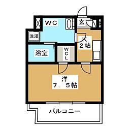 CREVISTA蒲田II 3階1Kの間取り