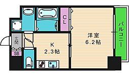 セゾンラトゥール新今里 8階1Kの間取り