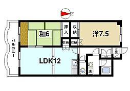 グラン・シャリオ二階堂 3階2LDKの間取り