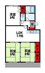プレリュード篠栗II[2階]の間取り