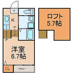 愛知県名古屋市北区下飯田町1丁目の賃貸アパートの間取り