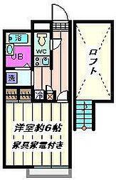 埼玉県川口市上青木2丁目の賃貸アパートの間取り