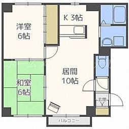 北海道札幌市東区北二十六条東6丁目の賃貸マンションの間取り
