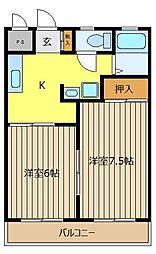 グリーン鶴ケ舞[3階]の間取り