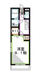 JR中央本線 吉祥寺駅 バス17分 杏林大学病院前下車 徒歩1分の賃貸アパート 3階1Kの間取り
