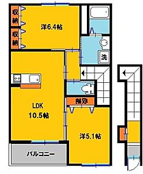 栃木県宇都宮市細谷町の賃貸アパートの間取り