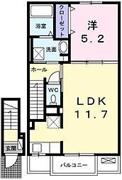 JR播但線 福崎駅 徒歩14分の賃貸アパート 2階1LDKの間取り