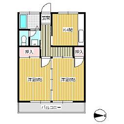 ひらのやハイツ[2階]の間取り